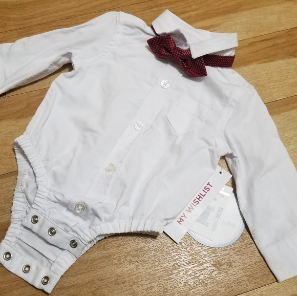 caf83173777ec 0-3 Month Baby Boy Dress Onesie Red patterned Bow